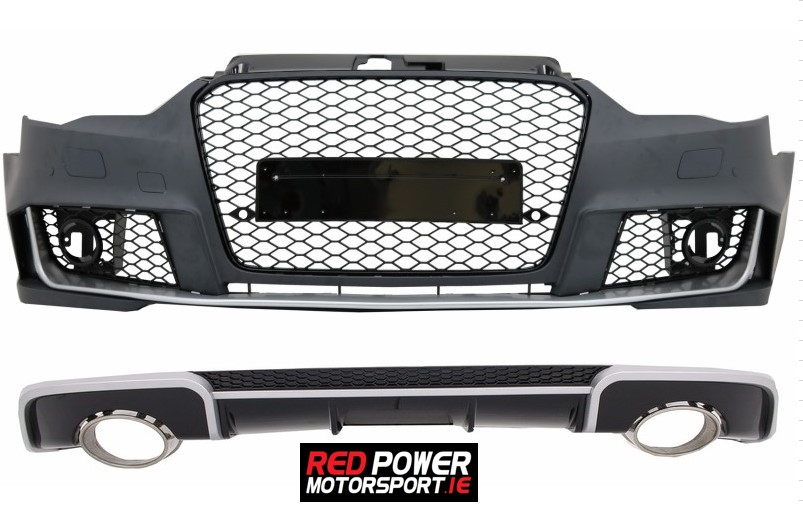 Front and Rear Bumper with Exhaust Tips Audi A3 8V (2012-2015) Hatchback  Sportback RS3 Design