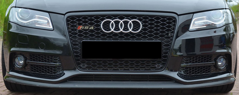 Gloss Black Audi A4 B8 Rs4 Style Grille 2008 2011 Red Power